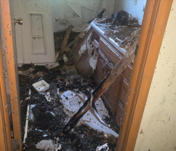 fire damaged bathroom