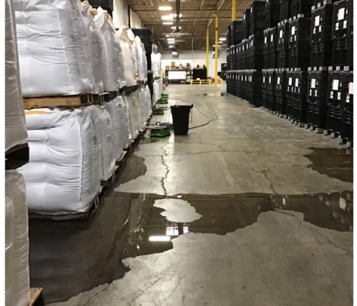 Warehouse with water on the floor