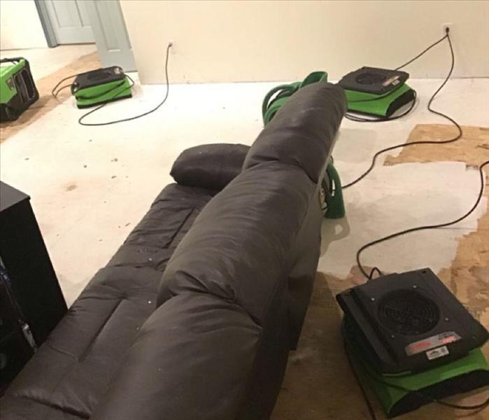 Green drying equipment and couch on floor
