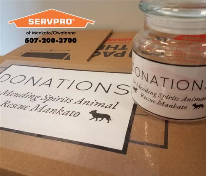 "Jar on top of box that both say ""donations for mending spirits animal rescue mankato"""
