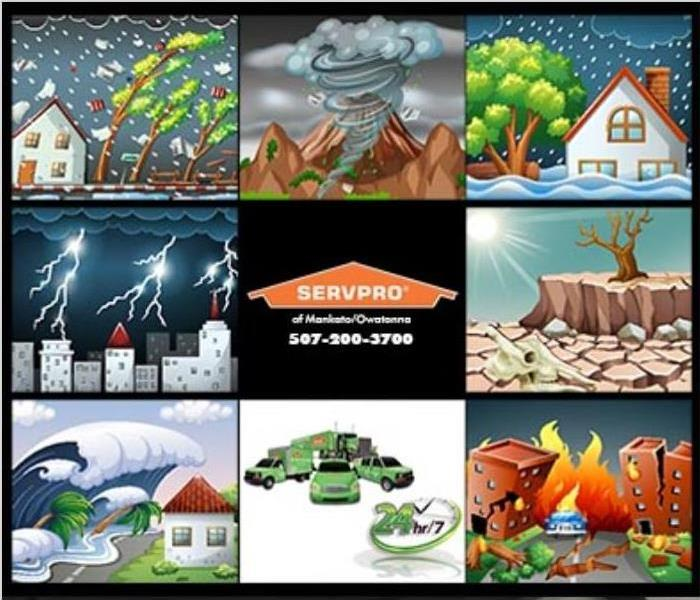Collage of photos containing storms, a tornado, a tsunami, fire, snow, and dry dessert with SERVPRO logo in the middle.